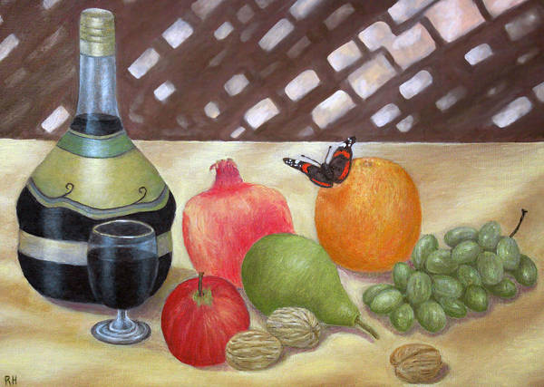 Still Life Art Print featuring the painting Sunlit Still Life With Butterfly by Ronald Haber