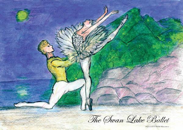 Swanlake Ballet Art Print featuring the mixed media Swan Lake Ballet by Marie Loh