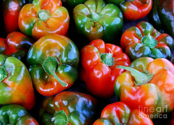 Pepper Art Print featuring the photograph Sweet Peppers by Guy Harnett