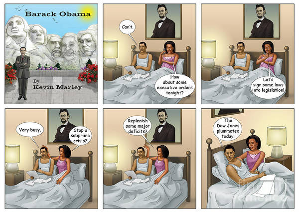 Barack Obama Art Print featuring the digital art The Dow Jones Plummetted by Kevin Marley