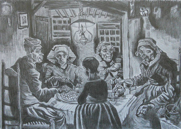 Reproduction Art Print featuring the drawing The Potato Eaters By Vincent Van Gogh by Andrew Nelson