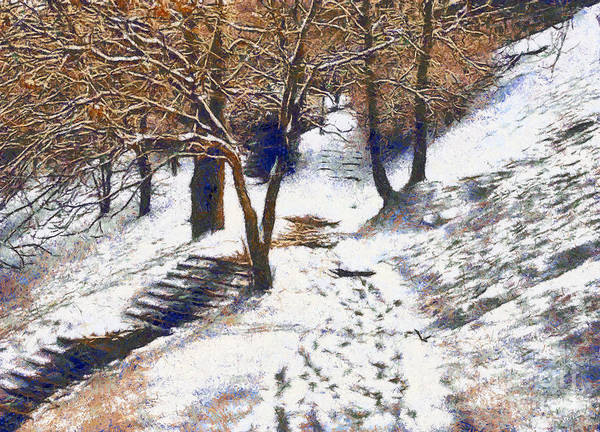 Odon Print featuring the painting The Winter Park by Odon Czintos
