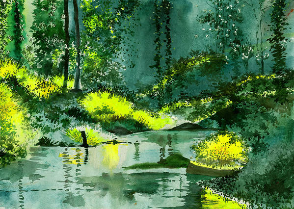 Nature Art Print featuring the painting Tranquil 1 by Anil Nene