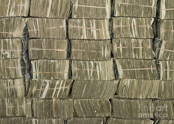 Architectural Print featuring the photograph Us Cash Bundles by Adam Crowley