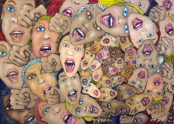 Faces Art Print featuring the painting Angst Vortex by Eddie Sargent