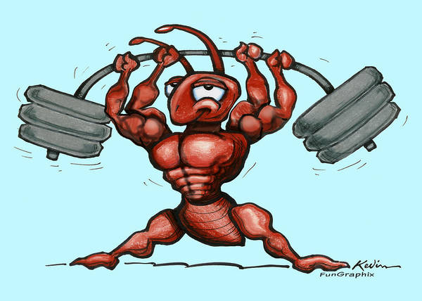 Gym Art Print featuring the greeting card Ant by Kevin Middleton
