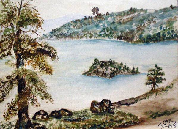 Ake Art Print featuring the painting Emerald Bay Lake Tahoe by Tammera Malicki-Wong