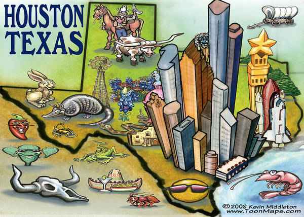 Houston Art Print featuring the digital art Houston Texas Cartoon Map by Kevin Middleton