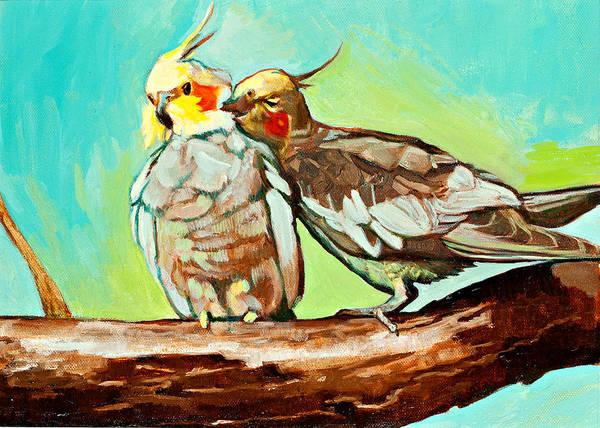 Birds Art Print featuring the painting Liefde by Debbie Beukema