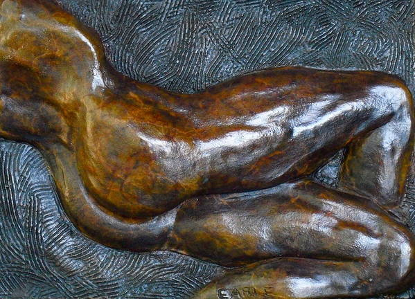 Male Nude Relief Print featuring the sculpture Male Dancer In Repose by Dan Earle