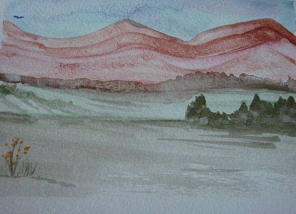 Mountains Art Print featuring the painting Pink Mountains by Dottie Briggs