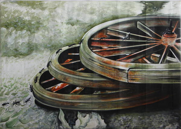 Wheel Art Print featuring the painting Resting Wheels by Bhavishya Yadav