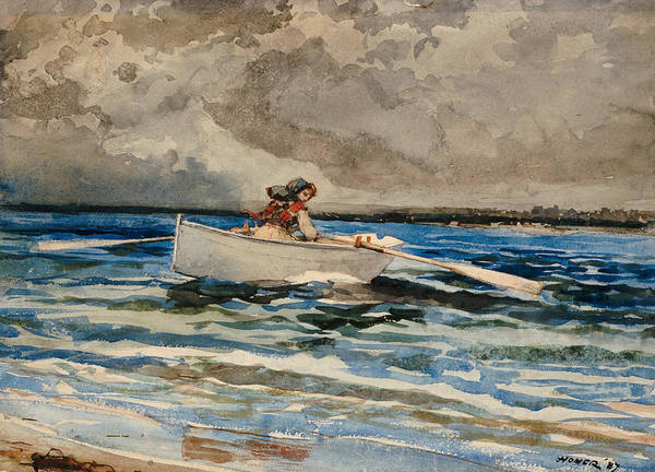 Rowing At Prout's Neck Art Print featuring the painting Rowing At Prouts Neck by Winslow Homer