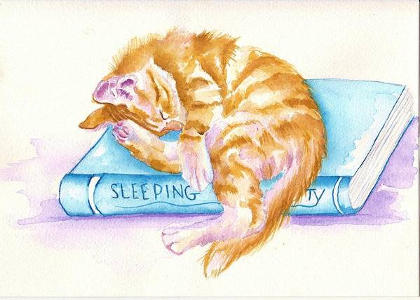 Cats Art Print featuring the painting Sleeping Beauty by Debra Hall