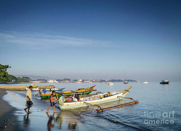 Asia Art Print featuring the photograph Traditional Fishing Boats On Dili Beach In East Timor Leste by Jacek Malipan
