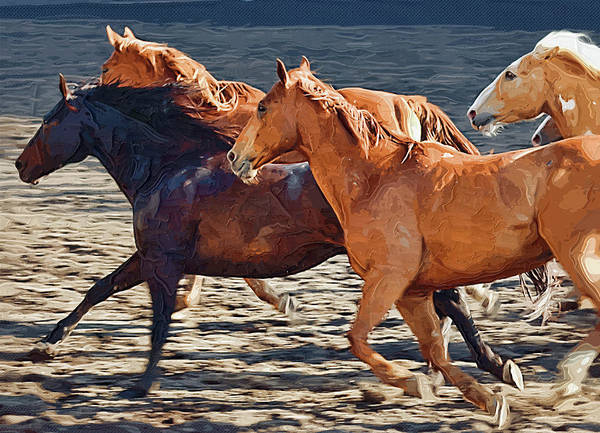 Horse Art Print featuring the painting Wild Horses Running by Clarence Alford