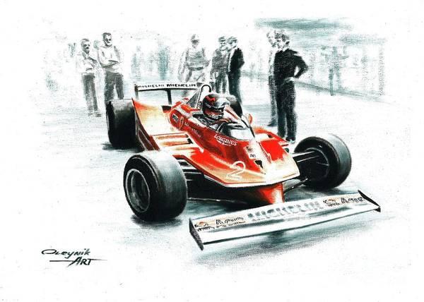 Ferrari F1 Collection Art Print featuring the painting 1980 Ferrari 312t5 by Artem Oleynik