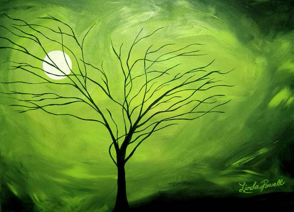 Abstract Acrylic Landscape Green Tree Moon Movement Art Print featuring the painting Green Night I by Linda Powell
