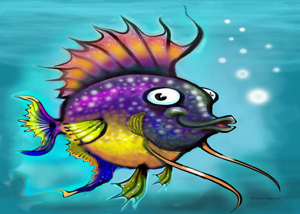 Rainbow Art Print featuring the painting Rainbow Fish by Kevin Middleton