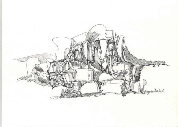 Surreal Art Print featuring the drawing 2009-7 by Padamvir Singh