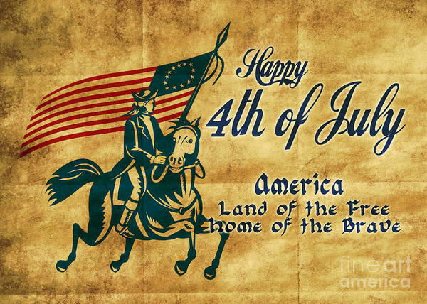 American Art Print featuring the digital art American Revolution Soldier General by Aloysius Patrimonio