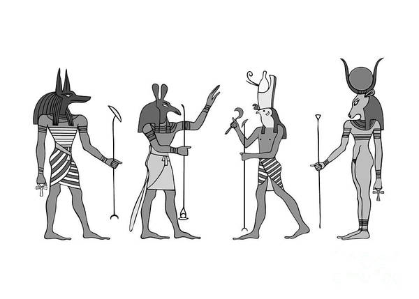 Mythology Art Print featuring the digital art Gods Of Ancient Egypt by Michal Boubin
