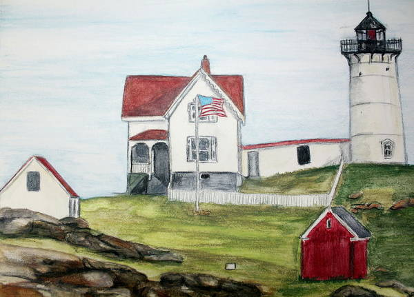 Light House Art Print featuring the painting Nubble Light by Debra Sandstrom