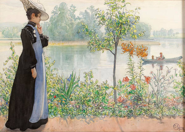 Karin By The Shore By Carl Larsson Art Print featuring the painting Karin By The Shore by Carl Larsson