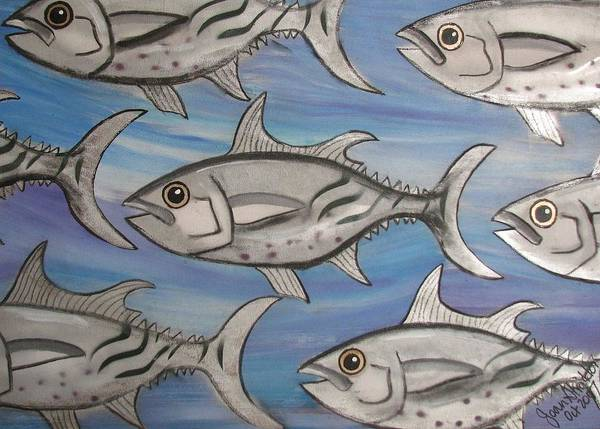 Sea Art Print featuring the painting 7 Fish by Joan Stratton