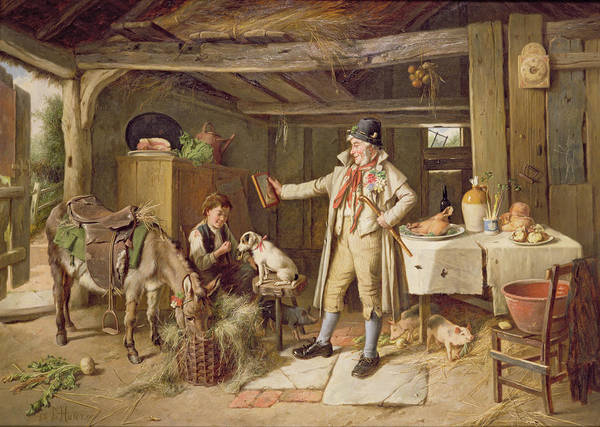 Vanity; Mirror; Walking Stick; Button Hole; Pigs; Pony; Interior; Cottage; Dog; Boy; Bacon; Ham; Pok; Turnip; Hay; Clock; Rustic; Pipe; Indoor; Donkey Art Print featuring the painting A Fine Attire by Charles Hunt