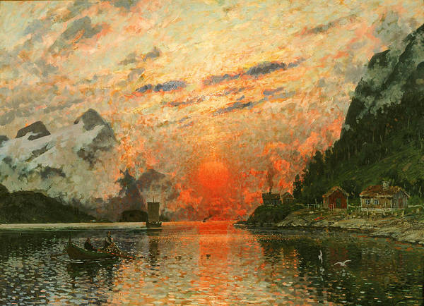 Scandinavia Art Print featuring the painting A Fjord by Adelsteen Normann