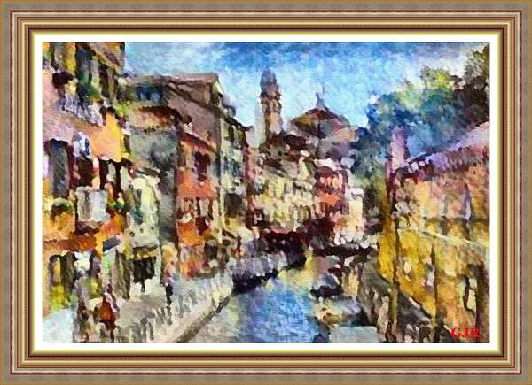Abstract Art Print featuring the digital art Abstract Canal Scene In Venice L A S With Decorative Ornate Printed Frame. by Gert J Rheeders