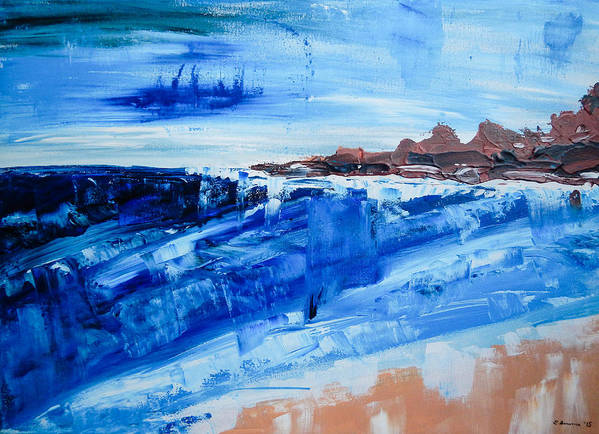 Abstract Seascape Art Print featuring the painting Alone By The Sea Abstract Seascape by Eliza Donovan