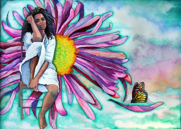 Woman/flower/surrealism Art Print featuring the painting Alone by Gail Zavala