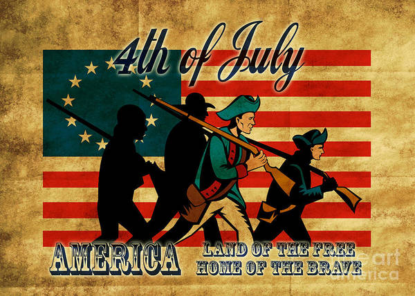 American Art Print featuring the digital art American Revolution Soldier Marching by Aloysius Patrimonio