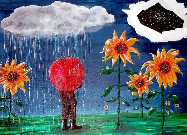 Umbrella Art Print featuring the painting And The Heavens Opened by Sandy Wager