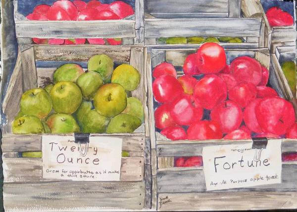 Apples Watercolor Red Green Art Print featuring the painting Apple Crate by Diane Ziemski