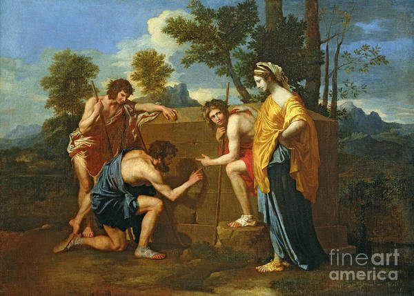 Arcadian Art Print featuring the painting Arcadian Shepherds by Nicolas Poussin