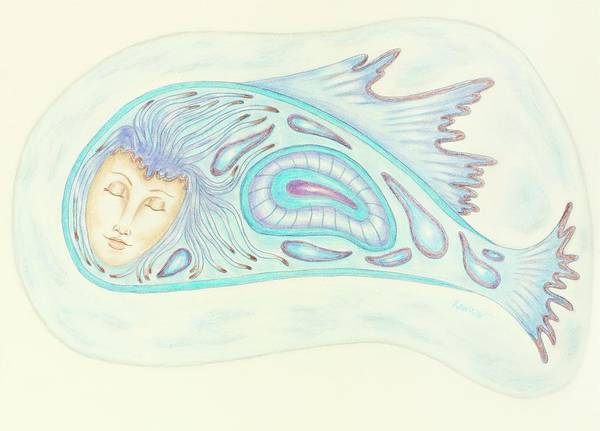Woman Art Print featuring the drawing Astral Traveler - From A Dream Image by K S Rankin