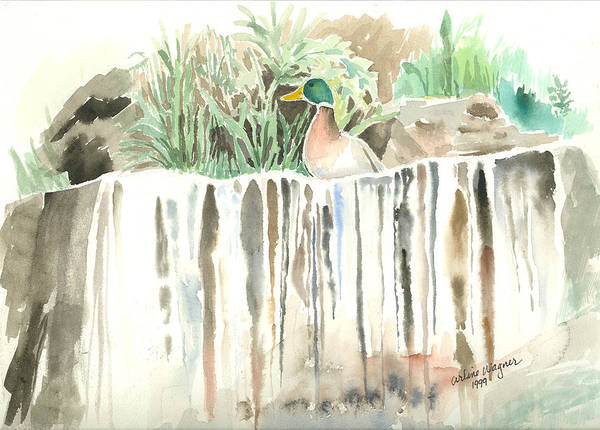 Waterfall Art Print featuring the painting Atop The Waterfall by Arline Wagner