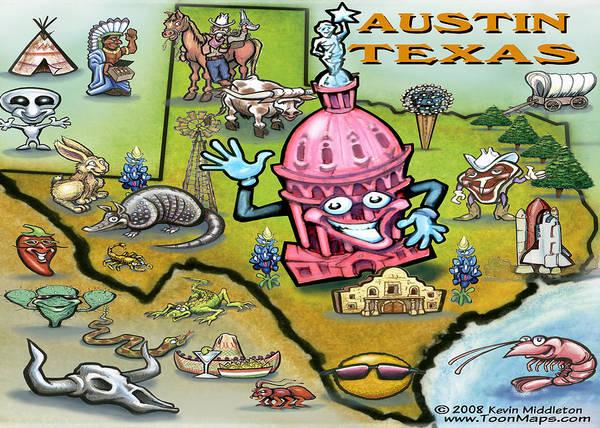Austin Art Print featuring the digital art Austin Texas Cartoon Map by Kevin Middleton