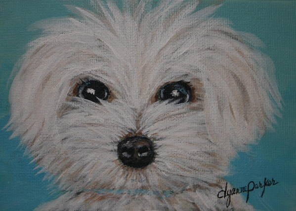Dog Art Print featuring the painting Baby Blue by Dyanne Parker