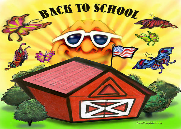 School Art Print featuring the greeting card Back To School by Kevin Middleton