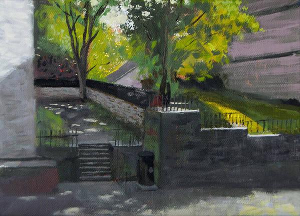 Backyard Art Print featuring the painting Backyard by Arild Amland