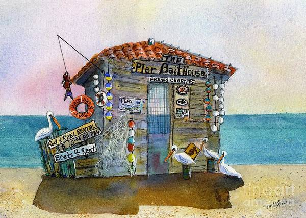 Bait-house Art Print featuring the painting Bait House by Midge Pippel