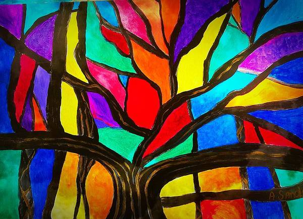 Banyan Tree Art Print featuring the painting Banyan Tree Abstract by Anne Sands