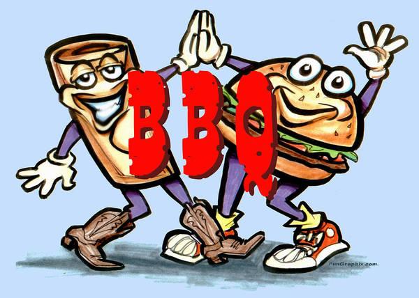 Bbq Art Print featuring the greeting card Bar-b-q by Kevin Middleton