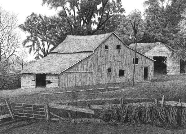 Landscape Art Print featuring the drawing Barn 14 by Joel Lueck