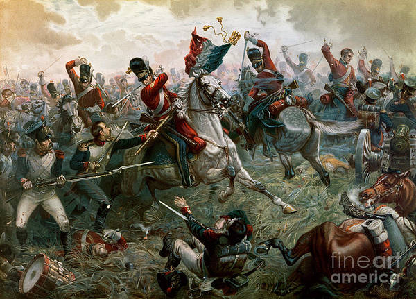 Struggle; Flag; Tricolor; Horseman; Hussar; Wellington Art Print featuring the painting Battle Of Waterloo by William Holmes Sullivan