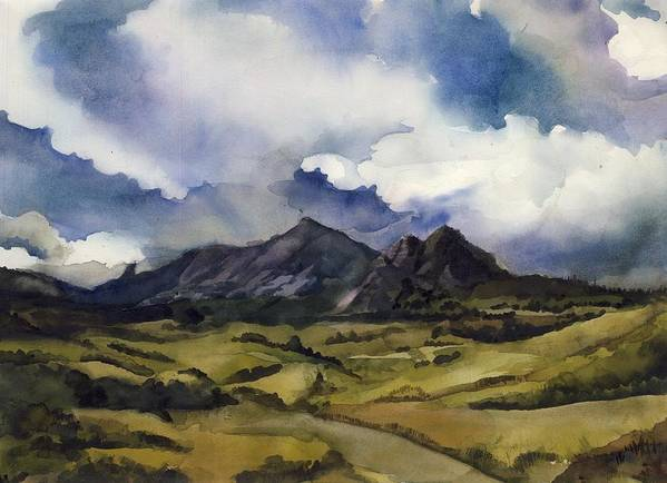 Landscape Art Print featuring the painting Bear Mountain Colorado by Alfred Ng